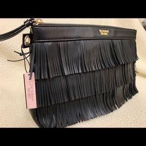 Victoria Secret fringe tote make up bag